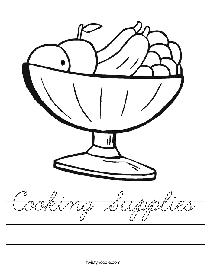 Cooking Supplies Worksheet