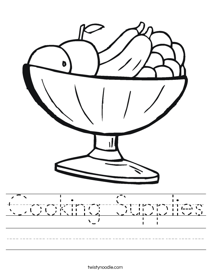 Cooking Supplies Worksheet