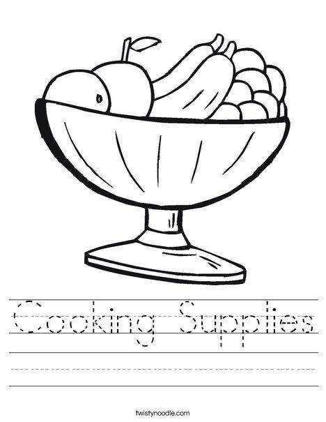 Fruit Bowl Worksheet