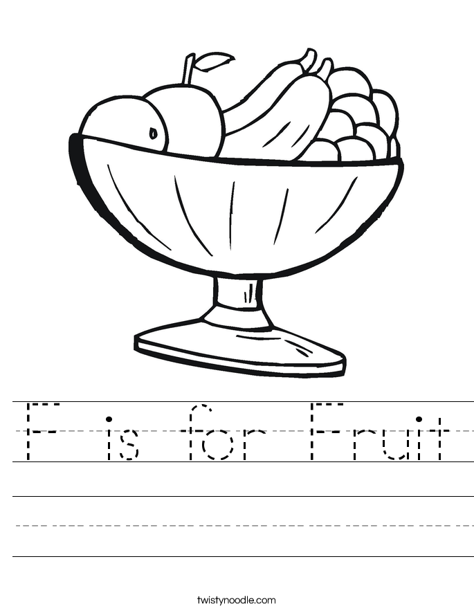 F is for Fruit Worksheet