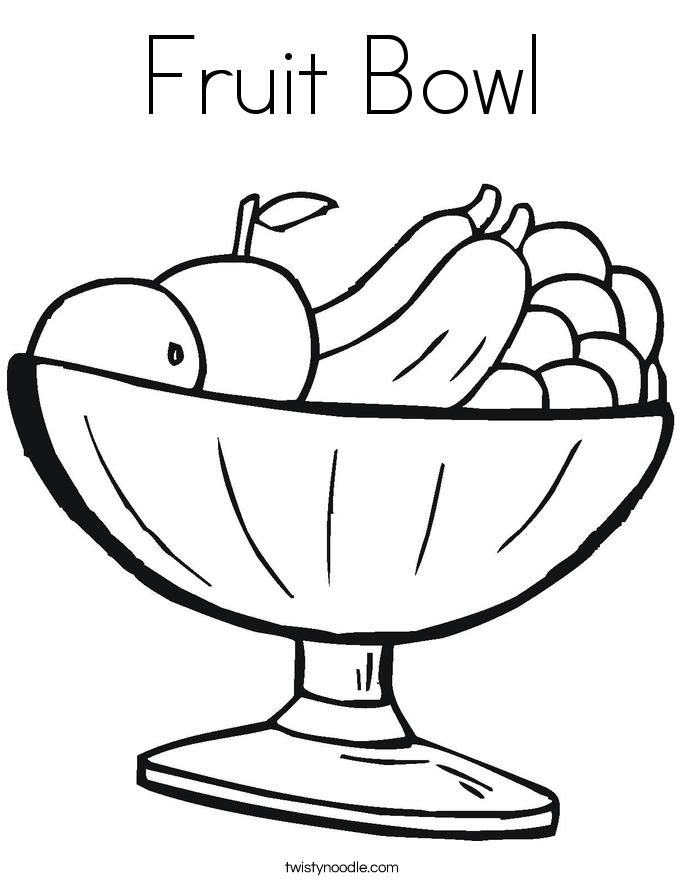 Fruit Bowl Coloring Page Twisty Noodle