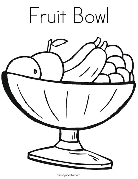 Fruit Bowl Coloring Page - Twisty Noodle