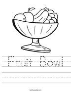 Fruit Bowl Handwriting Sheet