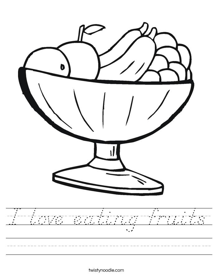 I love eating fruits Worksheet
