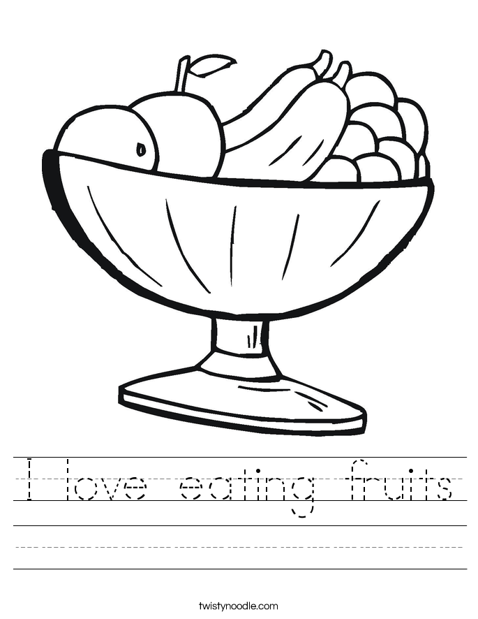 math worksheet : i love eating fruits worksheet  twisty noodle : Kindergarten Health Worksheets