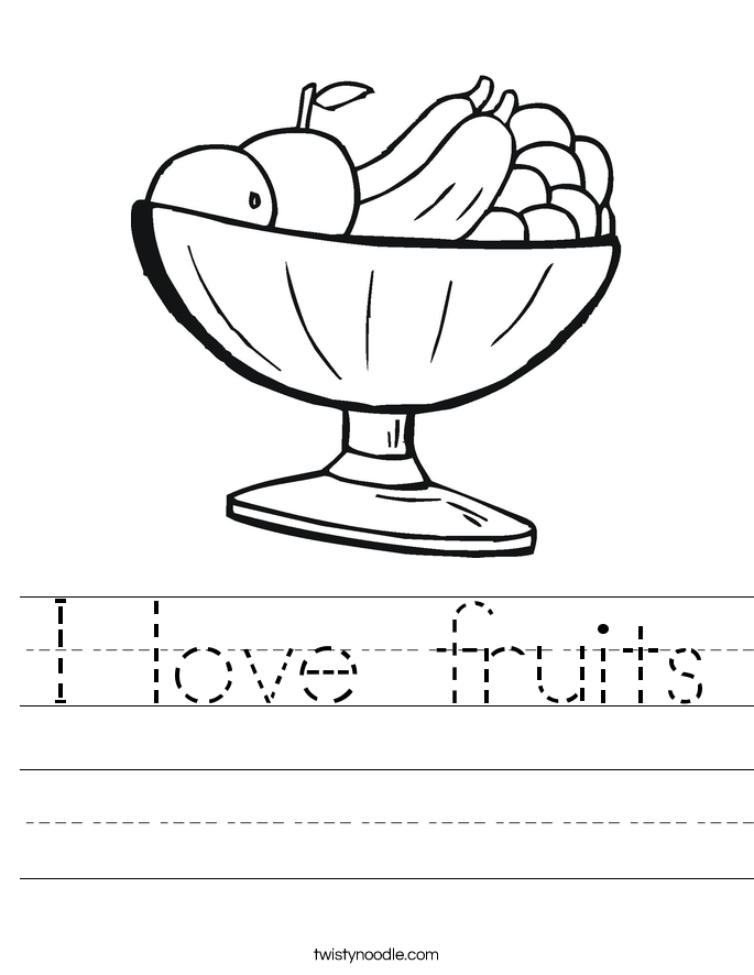I love fruits Worksheet
