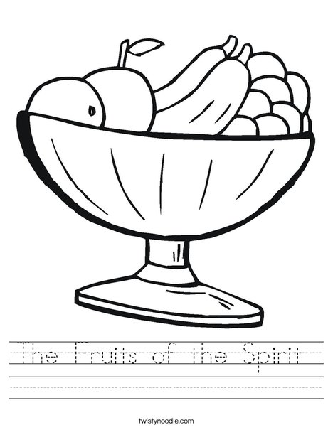 The Fruits Of The Spirit Worksheet on Fruits Coloring Page