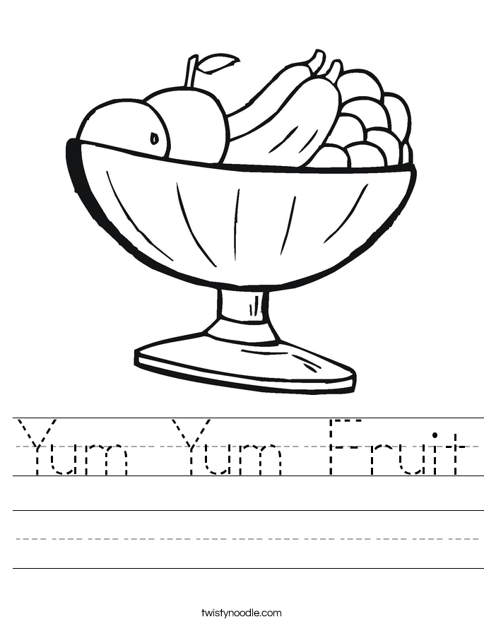 Yum Yum Fruit Worksheet