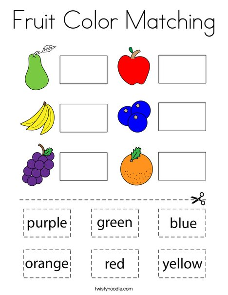 Fruit Color Matching Coloring Page