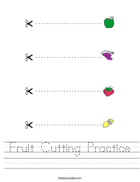 Fruit Cutting Practice Worksheet