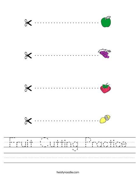 Fruit Cutting Practice Worksheet
