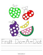 Fruit Do-A-Dot Handwriting Sheet