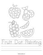 Fruit Dot Painting Handwriting Sheet