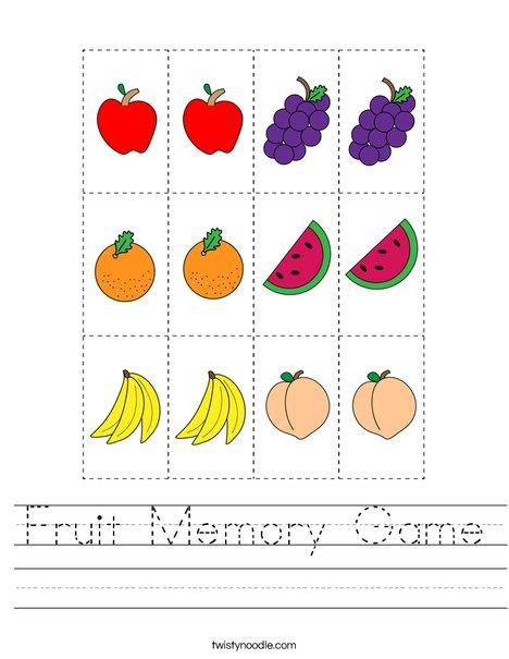 Fruit Memory Game Worksheet