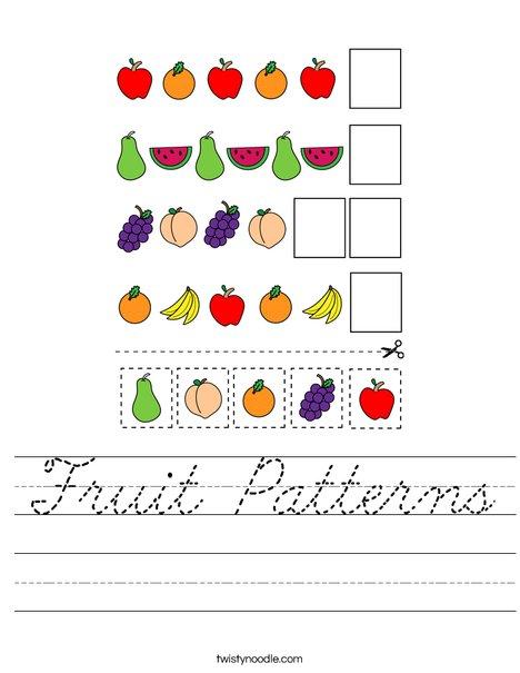 Fruit Patterns Worksheet