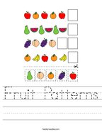 Fruit Patterns Handwriting Sheet