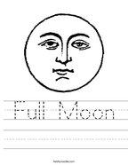 Full Moon Handwriting Sheet