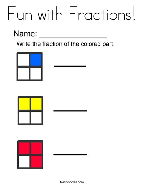Fun with Fractions! Coloring Page