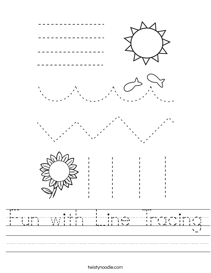 Fun with Line Tracing Worksheet - Twisty Noodle