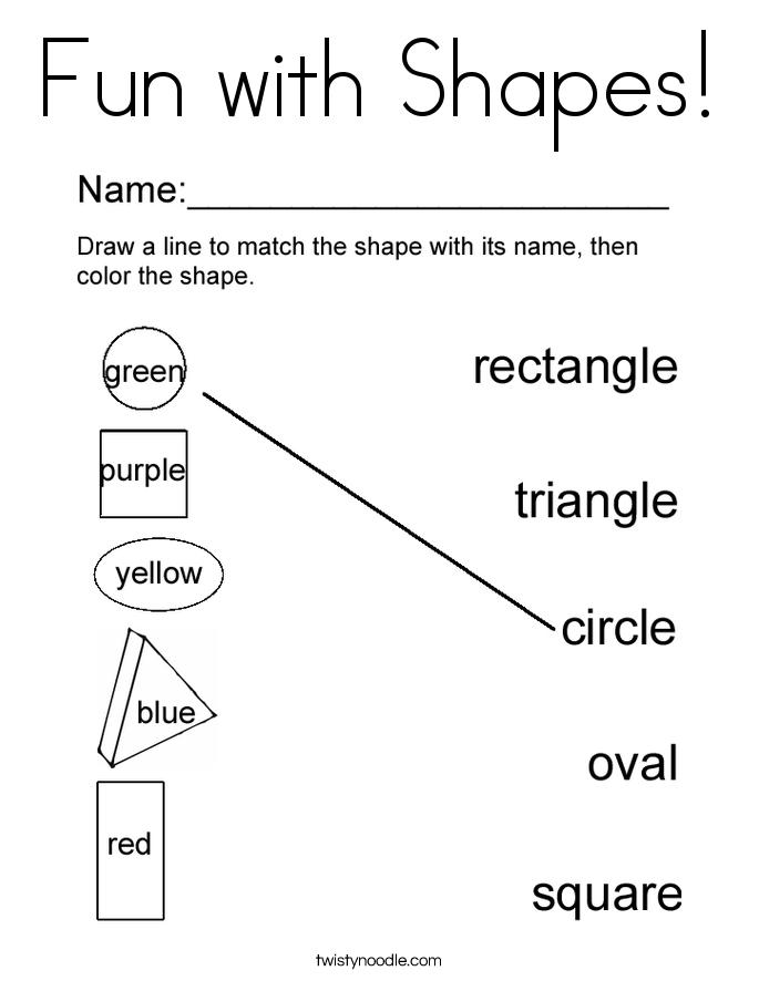 Color the shapes coloring page twisty noodle Coloring Pages About Shapes Coloring Pages Color by Letter Color Shapes Games