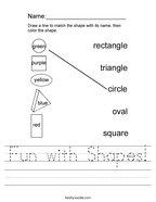 Fun with Shapes Handwriting Sheet