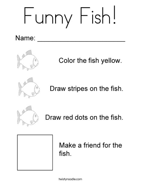Funny Fish Coloring Page