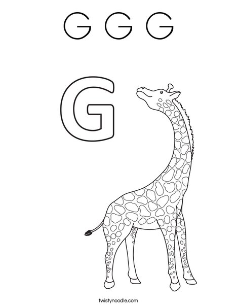 G Giraffe Coloring Page