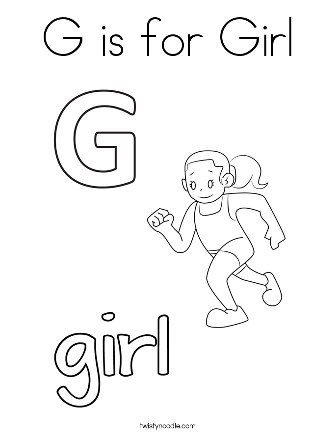 G is for Girl Coloring Page