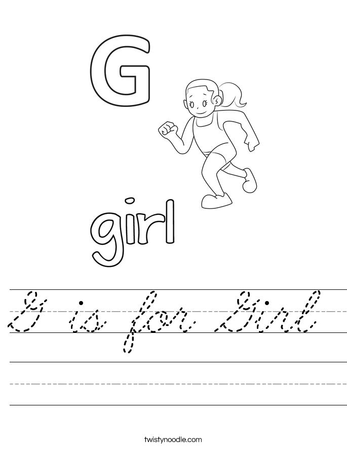 g is for girl worksheet cursive twisty noodle. Black Bedroom Furniture Sets. Home Design Ideas