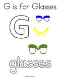 G is for Glasses Coloring Page