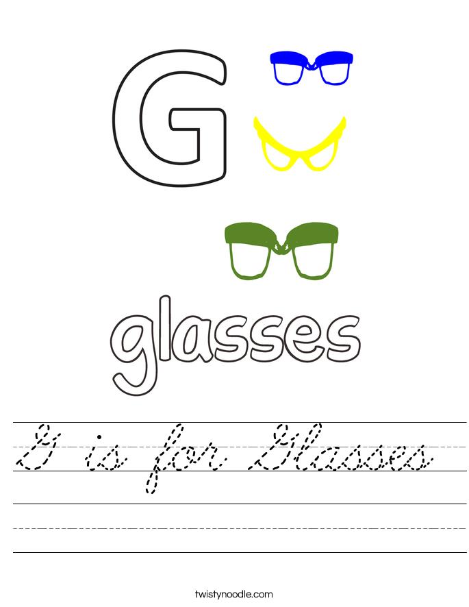 G is for Glasses Worksheet