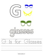 G is for Glasses Handwriting Sheet
