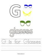G is for Glasses Handwriting Sheet