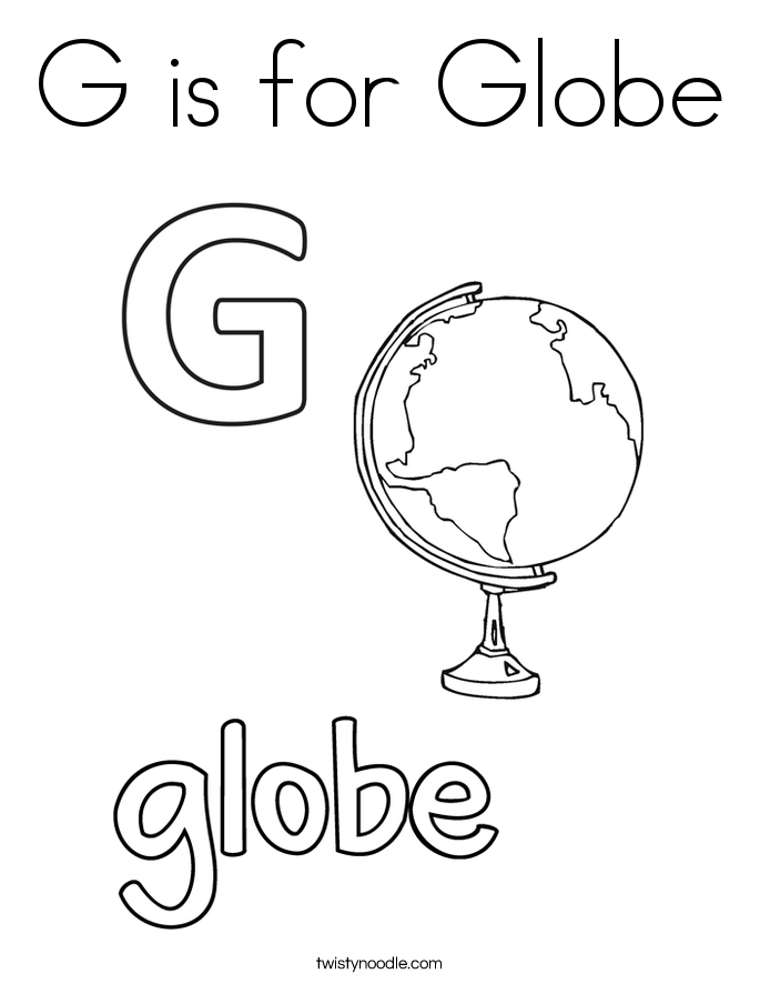 G is for Globe Coloring Page Twisty Noodle