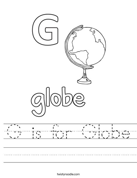 G is for Globe Worksheet