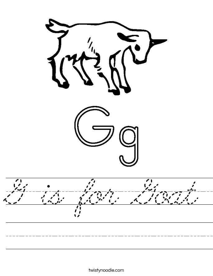 g is for goat worksheet cursive twisty noodle. Black Bedroom Furniture Sets. Home Design Ideas