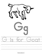 G is for Goat Handwriting Sheet