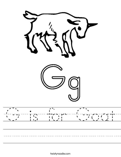 G is for Goat Worksheet - Twisty Noodle