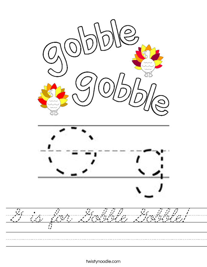 G is for Gobble Gobble! Worksheet