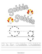 G is for Gobble Gobble Handwriting Sheet