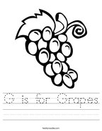 G is for Grapes Handwriting Sheet