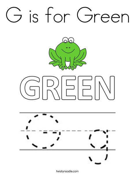 G is for Green Coloring Page
