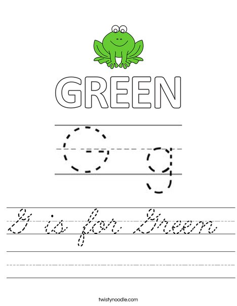 G is for Green Worksheet