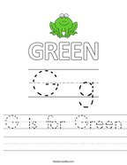 G is for Green Handwriting Sheet