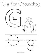 G is for Groundhog Coloring Page
