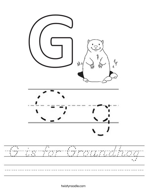 G is for Groundhog Worksheet
