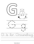 G is for Groundhog Handwriting Sheet