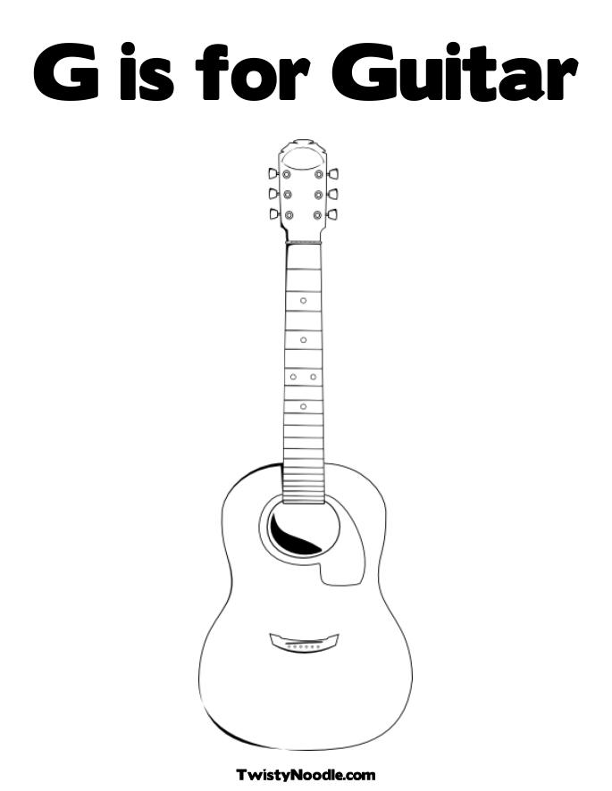 Free Guitar Template Coloring Pages