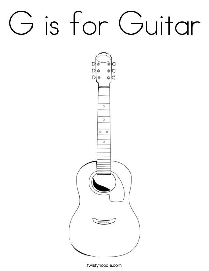 G is for Guitar Coloring Page