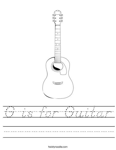 G is for Guitar Worksheet